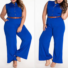 Load image into Gallery viewer, Elegant Office Plus Size Fashion Belted Wide Leg Jumpsuit