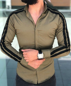 Casual Striped Long Sleeve Slim Fit Dress Shirt