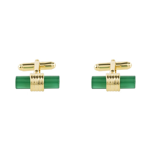 Cylindrical Cufflink Gold Green Onyx - kats closet1