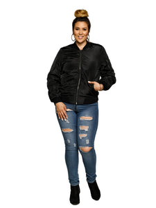 Xehar Women's Plus Size Classic Zip Up Bomber JacketXehar Women's Plus Size Classic Zip Up Bomber Jacket - kats closet1