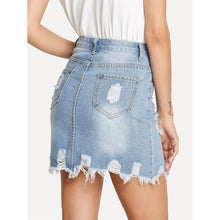 Load image into Gallery viewer, Bleach Wash Ripped Denim SKirt - kats closet1