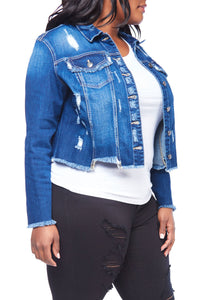 Plus Size Distressed Button Down Crop Denim Jacket - kats closet1