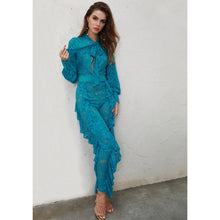 Load image into Gallery viewer, Aqua Blue Ruffle Jumpsuit - kats closet1