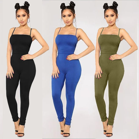 Sleeveless Solid Color Sexy Jumpsuit