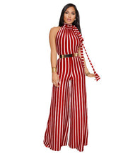 Load image into Gallery viewer, Striped Lace Hang Neck Wide Leg Jumpsuit - kats closet1