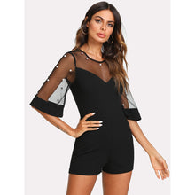 Load image into Gallery viewer, Pearl Embellished Mesh Yoke Romper - kats closet1