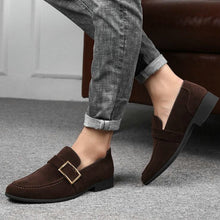 Load image into Gallery viewer, Men Formal Business Dress Wedding Pointed Toe Suede Leather Loafers