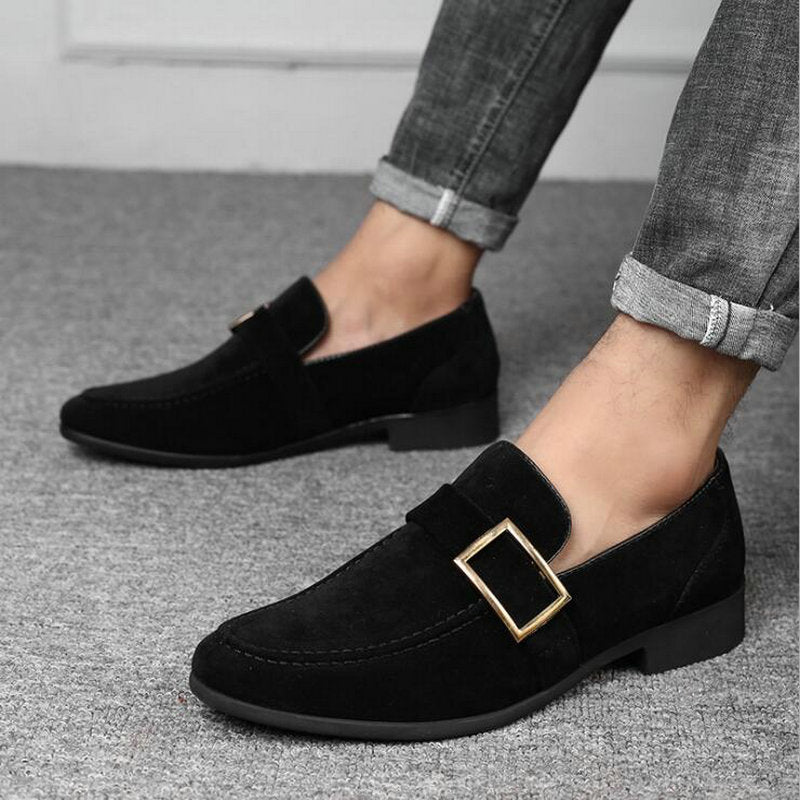 Men Formal Business Dress Wedding Pointed Toe Suede Leather Loafers