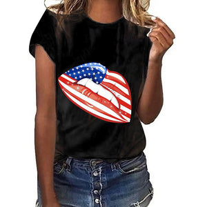 Lips Independence Day Print Short Sleeve T-Shirt