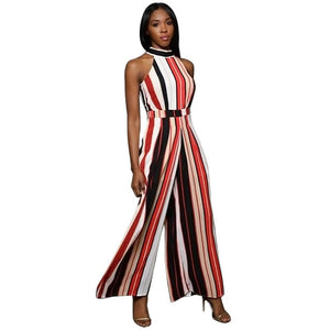 Turtleneck Stripes High Waist Flared Jumpsuit - kats closet1