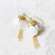 Load image into Gallery viewer, Porcelain Snowdrop Flower Tassel Earrings - kats closet1