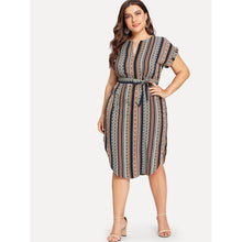 Load image into Gallery viewer, Curved Hem Tie Waist Striped Dress - kats closet1