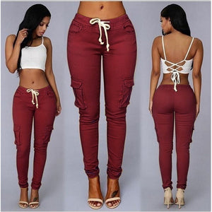 Waist Drawstring Fashion Pocket Casual High Waist Long Pants - kats closet1