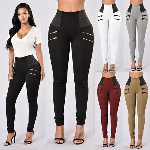 2018 Women Fashion New Leggings Elastic Thin Leg Zipper Design High Waist Leggings Solid Mid-calf Leggings Pants Plus Size Trous - kats closet1
