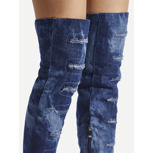 Ripped Design Stiletto Denim Boots - kats closet1