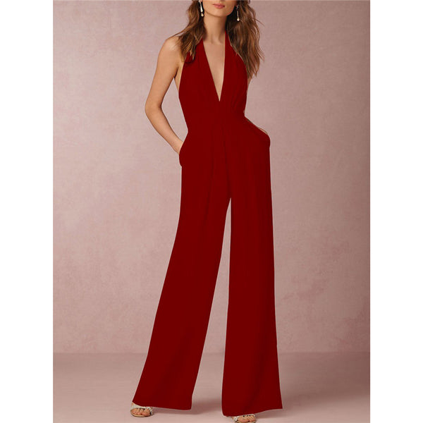 V-Neck Halter Pocket Wide-Leg Loose Backless Jumpsuit