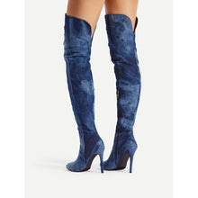 Load image into Gallery viewer, Ripped Design Stiletto Denim Boots - kats closet1