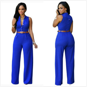 V-Neck Sleeveless High Waist Slim Casual Jumpsuit - kats closet1
