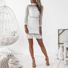 Load image into Gallery viewer, White Lace Long Sleeve Stand Neck Mini Dress - kats closet1