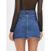 Load image into Gallery viewer, Destroyed Fishnet Insert Fray Trim Denim Skirt - kats closet1