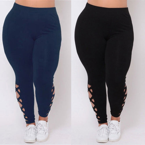 Women Fashion Elastic Leggings Solid Criss-Cross Hollow Out Sport Pants Plus Size - kats closet1