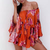 Off Shoulder Flare Sleeve Loose Floral Orange Short Jumpsuit