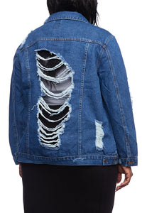 Distressed Fishnet Denim Jacket - kats closet1