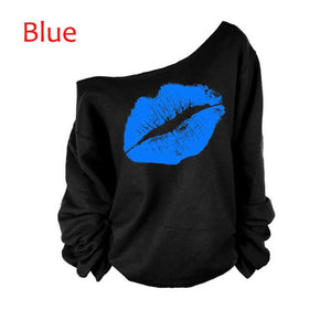 Off The Shoulder Pullover Loose Sweatshirts Lips Print - kats closet1