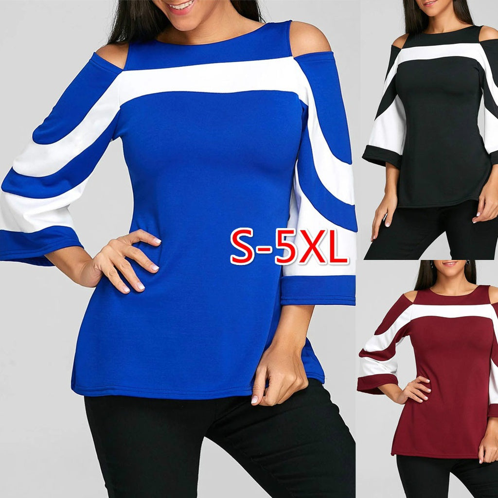 Plus Size Long Sleeve Causal Blouse 3 Colors