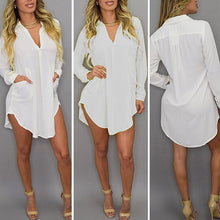 Load image into Gallery viewer, Long Sleeve Blouse V Neck Pocket T- Shirt Dress - kats closet1