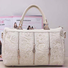 Load image into Gallery viewer, Genuine PU Leather Hobo Black, White, Light Pink Lace Bags