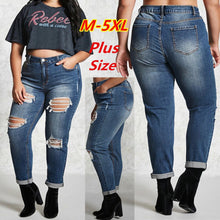 Load image into Gallery viewer, Women High Wait Hole Blue Plus Size 5L Jeans Pants - kats closet1