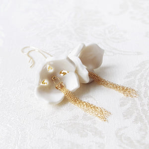 Porcelain Snowdrop Flower Tassel Earrings - kats closet1