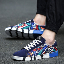Load image into Gallery viewer, Men Spring Autumn Casual Flat Colorful Cool Graphic Low Top Canvas Sneakers Shoes (Blue, Black, White) - kats closet1