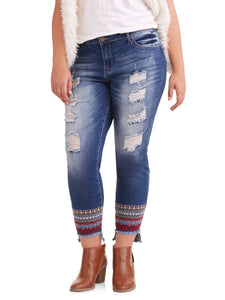 Juniors' Plus Destructed Skinny Jeans With Embroidered HemJuniors' Plus Destructed Skinny Jeans With Embroidered Hem - kats closet1