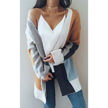 Load image into Gallery viewer, 2017 Autumn Winter Women Fashion Sexy Long Sleeve Oversized Casual Patchwork Open Knit Cardigan Coat Fashion Pocket Coat Plus - kats closet1