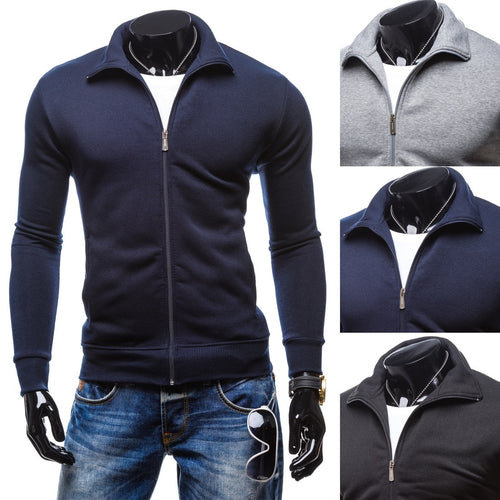 Men's pure zipper cardigan sweater, fashion leisure sports small Lapel sweater,tröjor à la mode - kats closet1