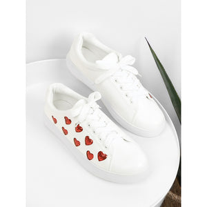 Heart Pattern Lace Up Sneakers - kats closet1