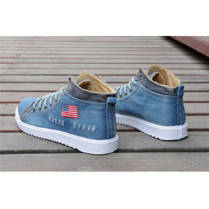 Mens shoes casual high top sneakers stylish USA denim flat boots blue black - kats closet1
