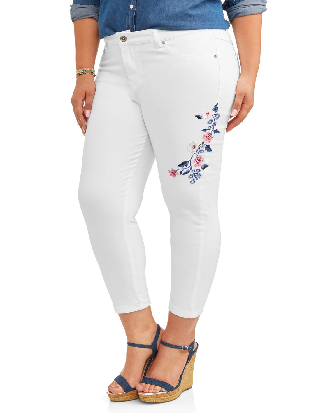 Women's Plus Embroidered Denim Capri JeanWomen's Plus Embroidered Denim Capri Jean - kats closet1