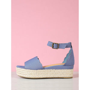 Scallop Band Ankle Strap Flatform Espadrille Wedge - kats closet1