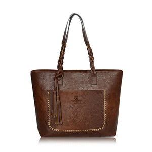 Large Leather Shoulder Tote Bag With Tassels