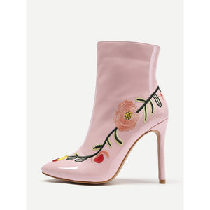 Flowers Embroidery Stiletto Ankle Boots - kats closet1