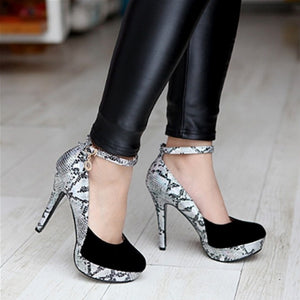 2016 Women Fantastic Sexy Snake skin Print Pumps Gladiator Ankle Straps High Heels Wedding Shoes Round toe Platform Pumps - kats closet1