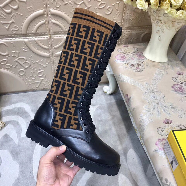 Fashion letter knitted elastic boots flat bottom medium tube socks boots of Tube height 9 inches Original - kats closet1