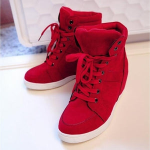 Women's Fashion Wedge Sneakers Hidding Heels Black Red Tennis Shoes High Top Ankle Shoes - kats closet1