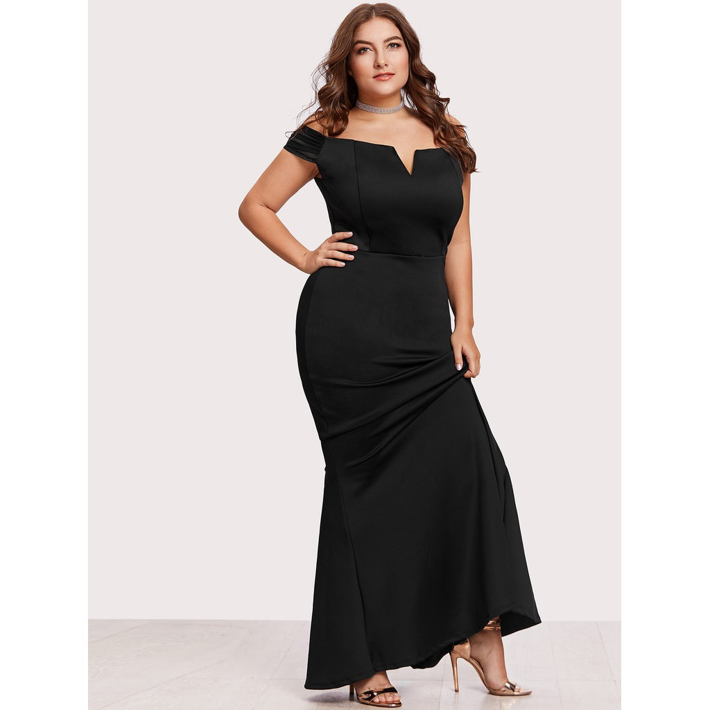 Off Shoulder Zip Back Maxi Dress - kats closet1
