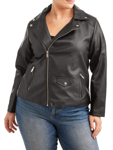 Women's Plus Size Cross Zip Leather Jacket - kats closet1