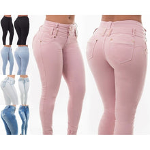 Load image into Gallery viewer, Pink High Waist Skinny Pencil Denim Pants Jeans - kats closet1