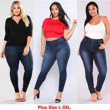 Load image into Gallery viewer, Women Plus Size Jeans High Waisted Stretch Slim Skinny Jeans Hipster Butt Lift Jeans For Curvy Women - kats closet1
